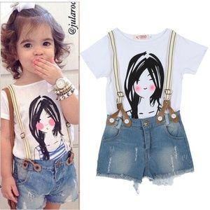 Girls Top Shirt+Bib Pants Outfit Children Set 2PCS